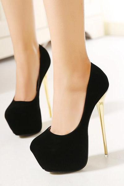Suede Stiletto Heel Round Toe Platform High Heels Prom Shoes