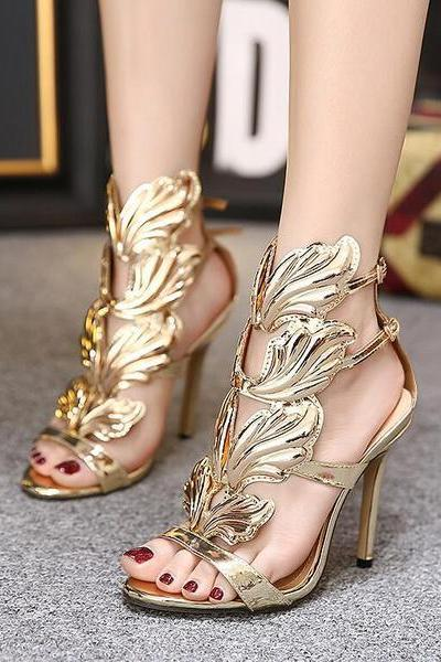 High Stiletto Heel Peep-toe Wings PU Ankle Strap Sandals