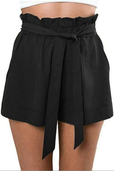Black or Khaki High Waisted Lettuce Trim Shorts with Pockets