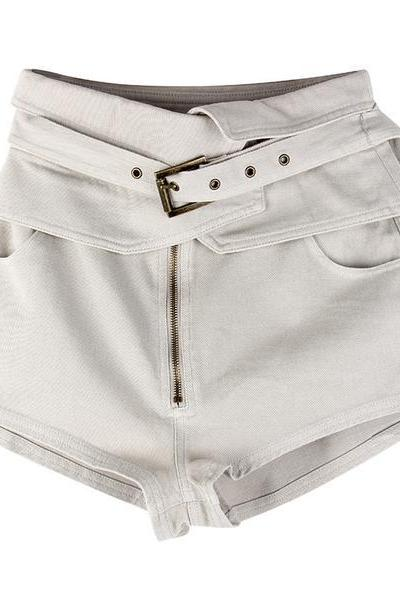 Pure Color High Waist Belt Slim Zipper Shorts