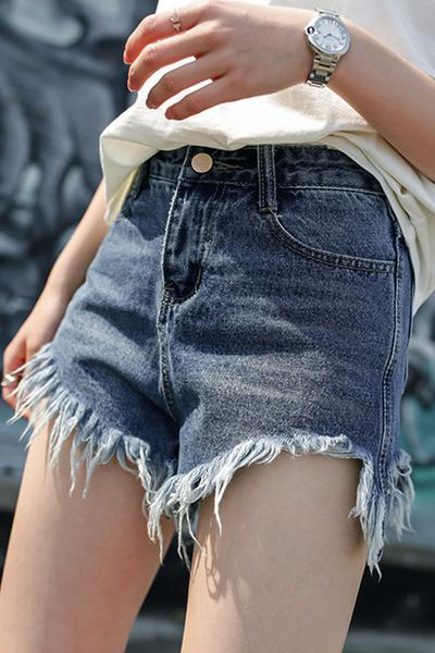 Irregular High Waist Pure Color Rough Edge Denim Shorts