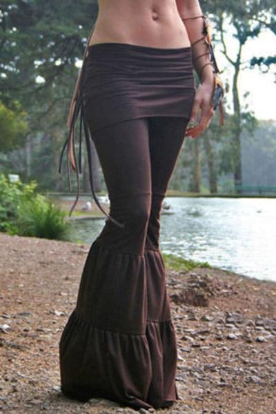 Pure Color Low Waist Yoga Wide-legs Long Pants
