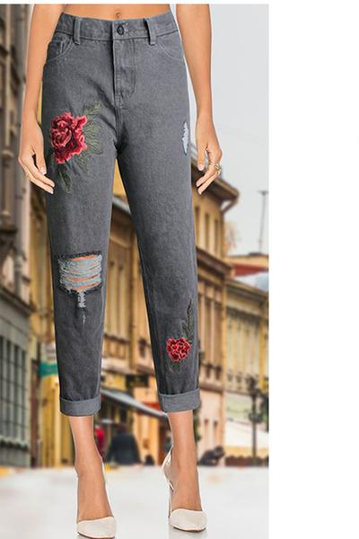 Flower Embroidery High Waist Denim Hole Pants