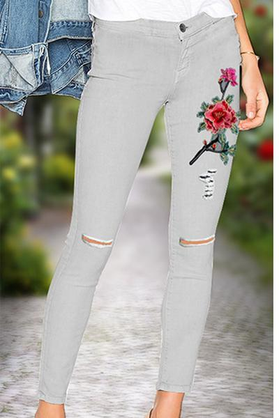 Flower Embroidery Denim Cut Out Long Pencil Jeans Pants