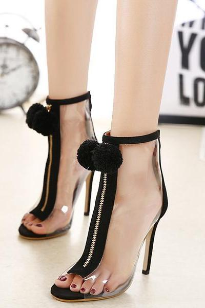 Peep-Toe Zip-Up Transparent Pompom Stiletto, High Heels