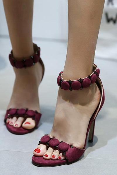 Stiletto Heel Peep-toe Ankle Strap High Heels Sandals