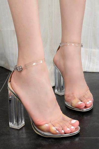 Transparent Ankle Strap Chunky Heel Sandals