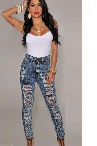 Rough Cut Out Holes High Waist Skinny Jeans Long Pants