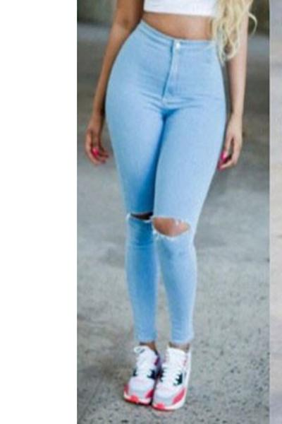 Cut Out Knee Holes Pure Color Long Slim Skinny Pants Jeans