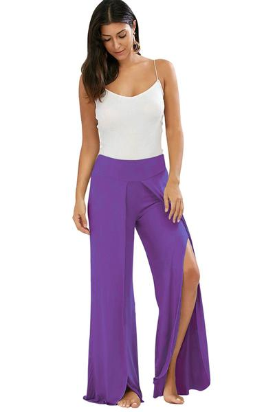 Pure Color Wide-leg Split Long Loose Yoga Pants