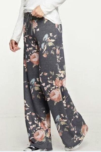 High Waist Print Drawstrings Loose Wide-Legs Long Pants