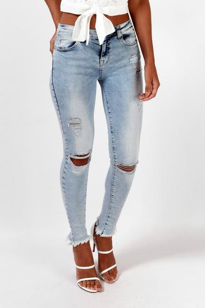Low Waist Rough Edge Cut Out Holes Long Skinny Pants