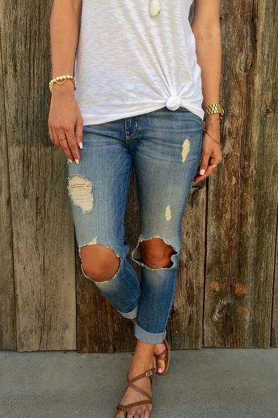 Curled Edge Cut Out Knee Holes Long Skinny Jeans