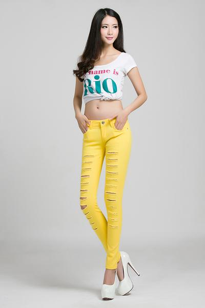 Candy Color Cut Out Rough Holes Long Pencil Pants