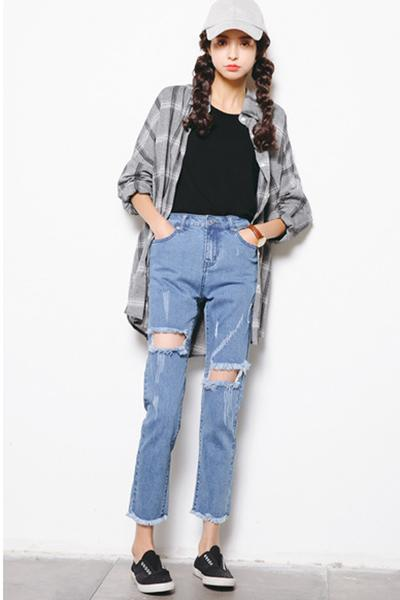 Middle Waist Cut Out Rough Holes Loose Pencil Jeans