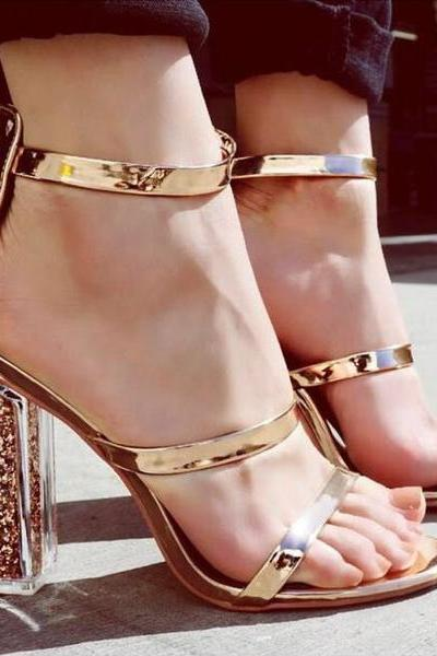 Open Toe Transparent Chunky Heels Sandals