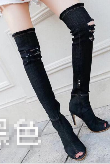Peep Toe Cut Out Stiletto Heels Over-knee Long Boots Sandals