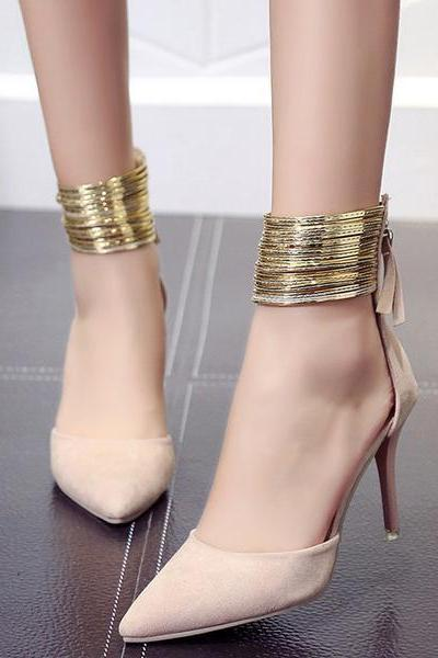 Pointed Toe Shinning Ankle Wraps Low Cut Stiletto Heels Party Shoes
