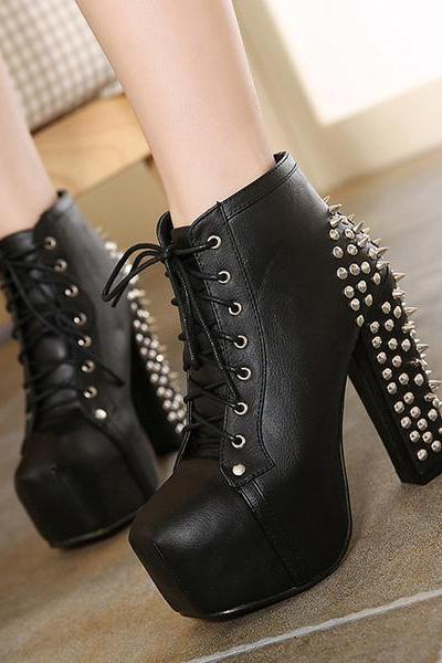 Round Toe Lace Up Rivets Short Boots Heels