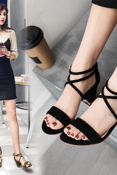 Suede Chunky Heel Open Toe Lace Ankle Strap Sandals