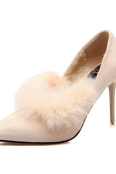 Pointed Toe Suede High Heel Pumps with Faux Fur