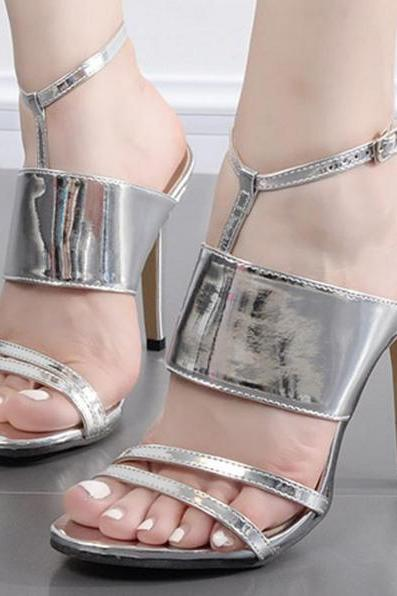 Shiny Open-Toe Wrap T-Strap Stiletto Heels, High Heels