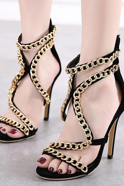 Metal Chain Decorate Open Toe Cut Out Back Zipper Sandals