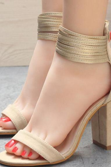 Back Zipper Ankle Wrap Open Toe Chunky High Heels Sandals
