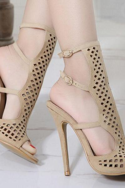 Cut Out Straps Wrap Open Toe Stiletto High Heels Sandals