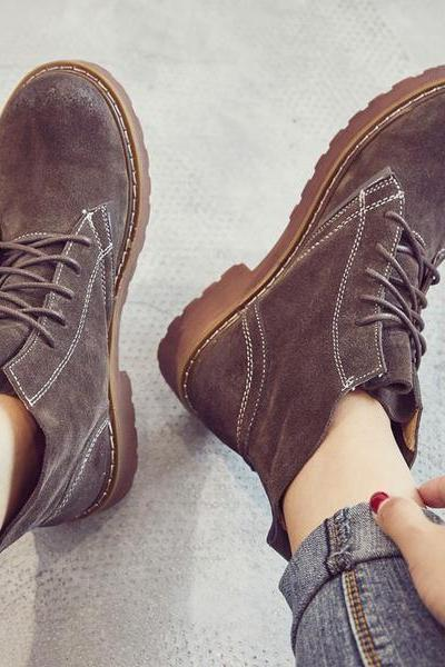 Leather Lace-up Round Toe Flat Short Boots