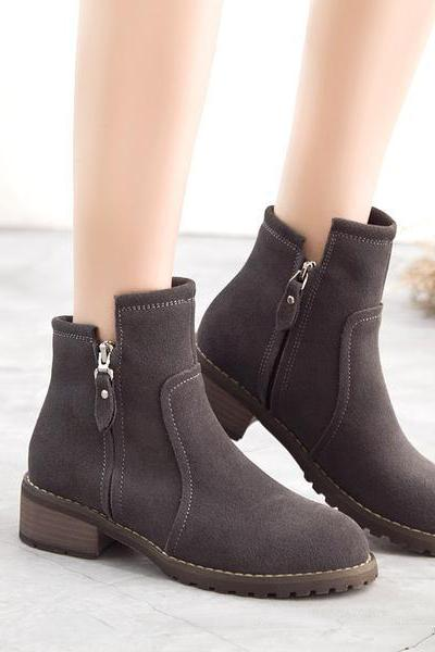 Side Zipper Round Toe Low Chunky Heels British Short Ankle Boots