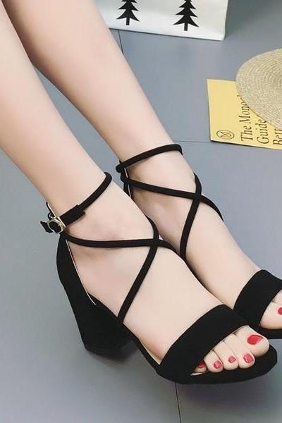 Lace Straps Ankle Wraps Open Toe Low Chunky Heels Sandals
