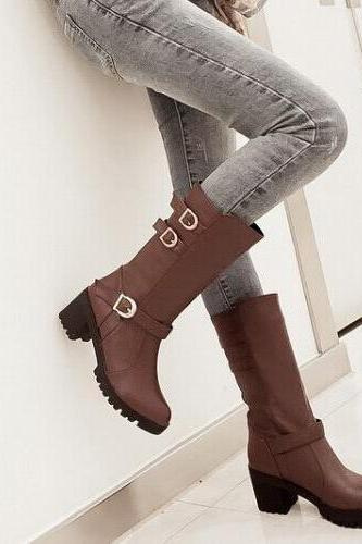 Hasp Round Toe Low Chunky Heels Half Boots