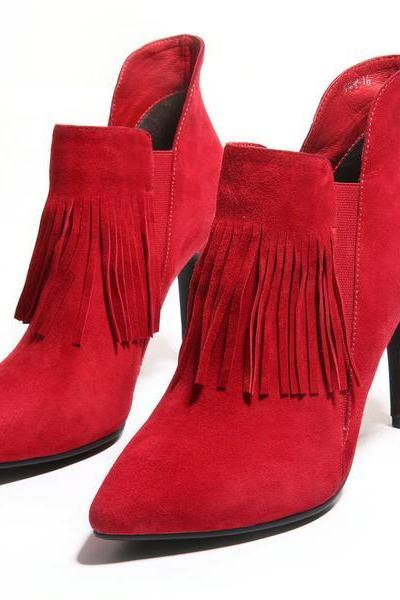 Faux Suede Pointed-Toe High Heel Ankle Boots Featuring Tassel Detailing