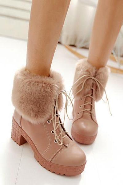 Curled Edge Faux Fur Lace Up Low Chunky Heels Short Boots