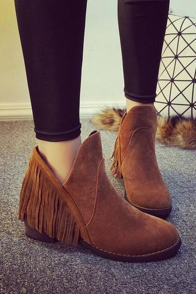 Tassels Low Cut Round Toe Low Chunky Heels Short Boots