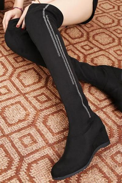 Round Toe Over-knee Long Wedge Boots