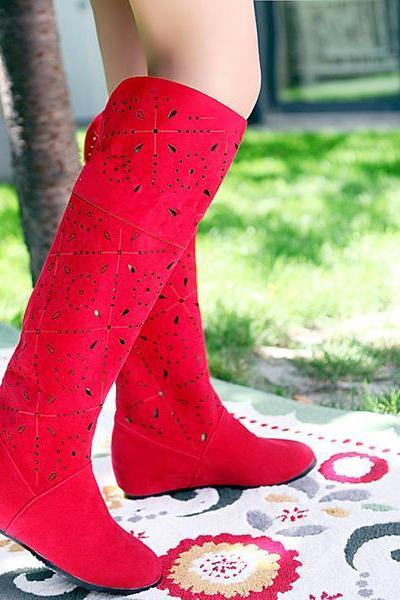 Cut Out Solid Color Inside Heels Knee-Length Long Boots
