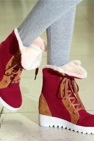 Patchwork Lace Up Inside Heels Short Warm Snow Boots