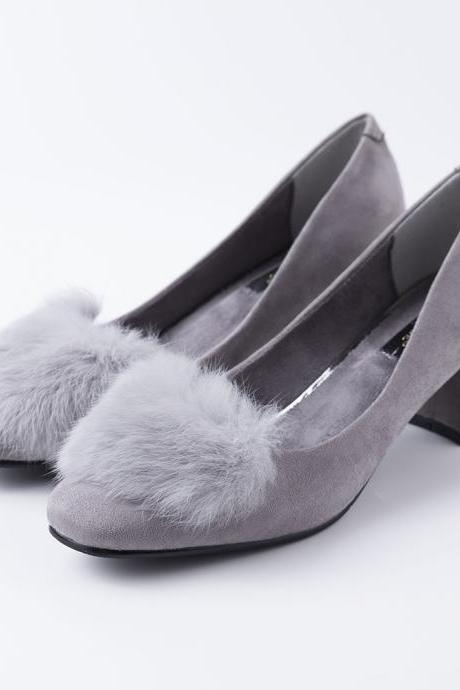 Faux Fur Rounded Toe Low Chunky Heel Suede Pumps