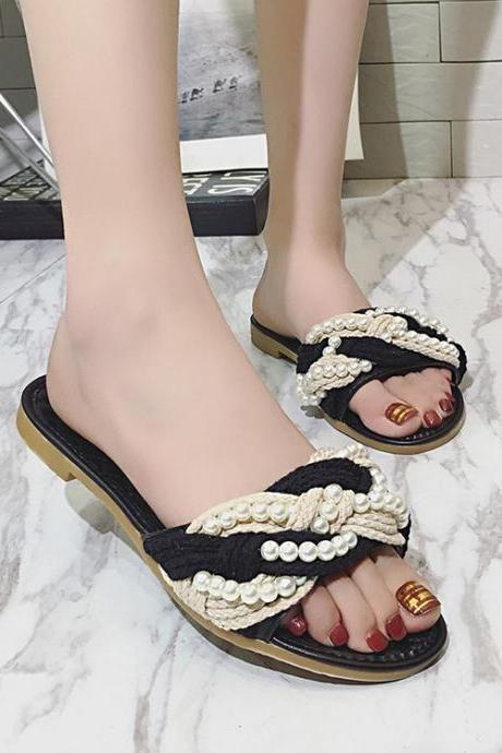 Beads Decorate Open Toe Flat Sandals Slippers