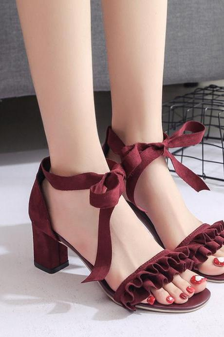 Ruffled Open Toe Chunky High Heel Sandals with Ribbon Ankle Straps