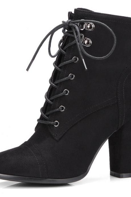Faux Suede Pointed-Toe Lace-Up Chunky Heel Ankle Boots