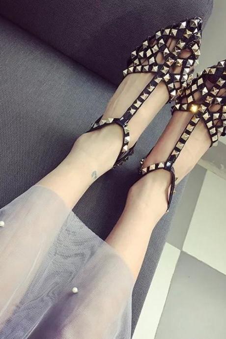 Rivets Hollow Out Pointed Toe Ankle Wrap Stiletto High Heels