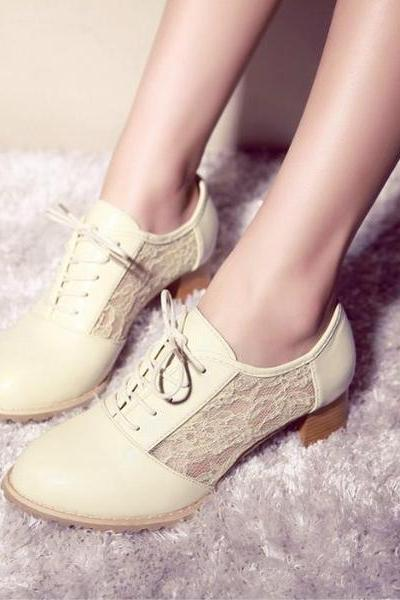 Lace Patchwork Round Toe Middle Chunky Heels Shoes