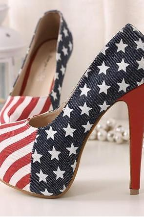 Print Round Toe Platform Stiletto High Heels Prom Club Shoes