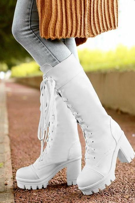 Lace Up Round Toe Platform Chunky Heels Long Boots