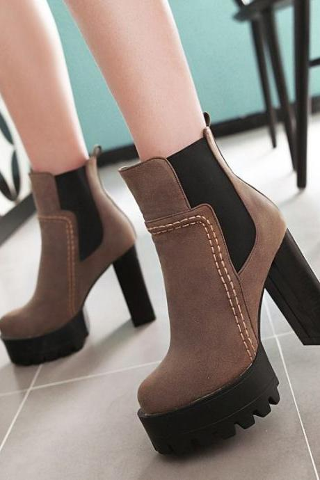 Platform Round Toe High Chunky Heels Short Boots