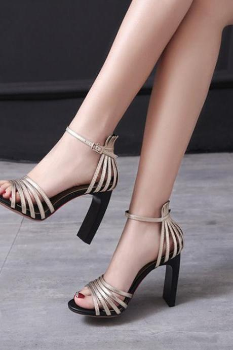 Straps Open Toe High Heels Ankle Wrap Sandals