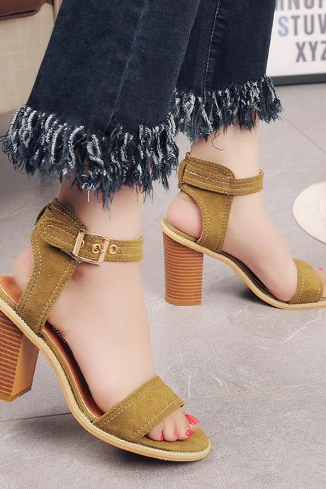 Open Toe Suede Chunky Heel Sandals With Adjustable Ankle Strap